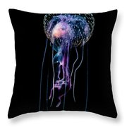 Jellyfish  Pelagia Noctiluca  With Fish Throw Pillow