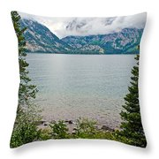 Jenny Lake In Grand Tetons National Park-wyoming  Throw Pillow