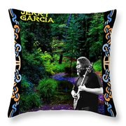 Jerry At Psychedelic Creek Throw Pillow
