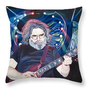 Jerry Garcia And Lights Throw Pillow