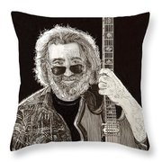 Jerry Garcia String Beard Guitar Throw Pillow