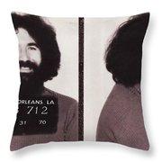Jerry Garcia Mugshot Throw Pillow