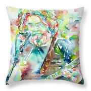 Jerry Garcia Playing The Guitar Watercolor Portrait.2 Throw Pillow
