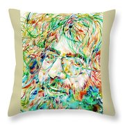 Jerry Garcia Watercolor Portrait.1 Throw Pillow by Fabrizio Cassetta