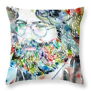 Jerry Garcia Watercolor Portrait.2 Throw Pillow