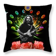 Jerry Spacepods Ufo Roses Under Cosmic Sun Throw Pillow