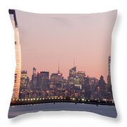 Jersey City And New York City  With Manhattan Skyline Over Hudso Throw Pillow