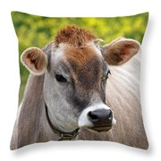 Jersey Cow With Attitude - Square Throw Pillow
