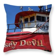 Jersey Devil Clam Boat Throw Pillow