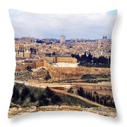 Jerusalem From Mount Olive Throw Pillow
