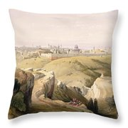 Jerusalem From The Mount Of Olives Throw Pillow by David Roberts