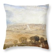 Jerusalem From The Mount Of Olives Throw Pillow by Joseph Mallord William Turner