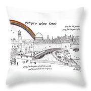 Jerusalem With Rainbow Throw Pillow