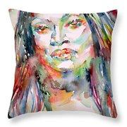 Jessye Norman - Watercolor Portrait Throw Pillow