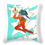 Jester With Cake Throw Pillow