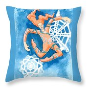 Jester With Snowflakes Throw Pillow by Genevieve Esson