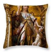 Jesus And Angel Sculptures In Mezquita Throw Pillow
