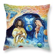 Jesus And Mary Cloud Colored Christ Come Throw Pillow