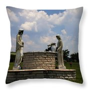 Jesus And The Woman At The Well Cemetery Statues Throw Pillow