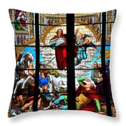 Jesus Angels Stained Glass Painting Inside Cologne Cathedral Germany Throw Pillow