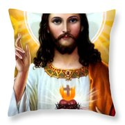 Jesus Big Heart Throw Pillow