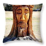 Jesus Carving Throw Pillow