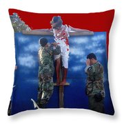 Jesus Christ Float 60th Anniversary Of The Landing On Iwo Jima In Ww2 Sacaton Arizona 2005 Throw Pillow