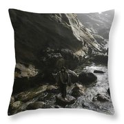 Jesus Christ- Walking With Angels Throw Pillow