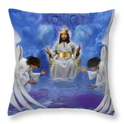 Jesus Enthroned Throw Pillow by Tamer and Cindy Elsharouni