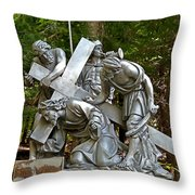 Jesus Falls The First Time Throw Pillow