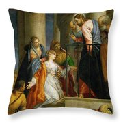 Jesus Healing The Woman With The Issue Of Blood Throw Pillow