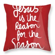 Jesus Is The Reason For The Season- Greeting Card Throw Pillow