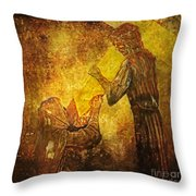 Jesus Meets His Mother Via Dolorosa 4  Throw Pillow by Lianne Schneider
