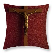 Jesus On Cross Against Red Wall Throw Pillow