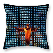 Jesus Sculpture And Blue Glass Background Throw Pillow