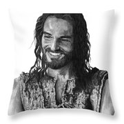 Jesus Smiling Throw Pillow by Bobby Shaw