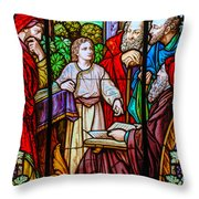 Jesus Teaches In The Temple Throw Pillow