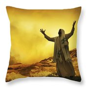 Jesus With Arms Stretched Towards Heaven Throw Pillow