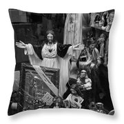 Jesus With Arms Wide Open Religious Figurines In A Shop Window In Toronto Throw Pillow