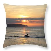 Jet Bike Sunset Throw Pillow