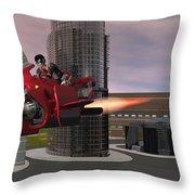 Jet Bike Traveling Thru The City Throw Pillow