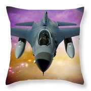 Jet Fighter Aircraft F-16 Falcon Aircraft  Throw Pillow