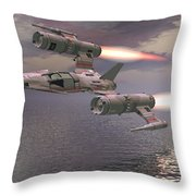 Jet Flying Low Throw Pillow