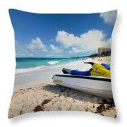 Jet Ski On The Beach At Atlantis Resort Throw Pillow by Amy Cicconi