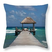 Jetty With Beach Hut Throw Pillow