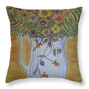 Jewel Tea Pitcher With Marigolds Throw Pillow