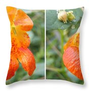 Jewelweed Flower In Stereo Throw Pillow