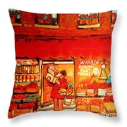 Jewish Culture In Montreal Paintings Of Warshaw's Fruit Store On St.lawrence Street Scene Art  Throw Pillow