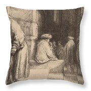 Jews In The Synagogue Throw Pillow