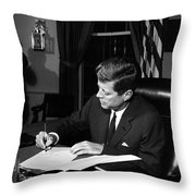 Jfk Signing The Cuba Quarantine Throw Pillow by War Is Hell Store